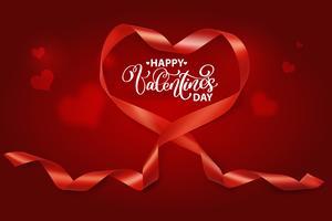 Valentine coração realista de fita de seda vermelha vetor