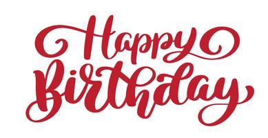 Frase de texto feliz aniversário mão desenhada vetor