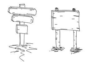 Setas duplas. Esboço desenhado de mão. Ilustração vetorial