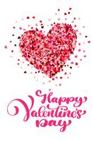 Caligráfico feliz dia dos namorados com coração vetor