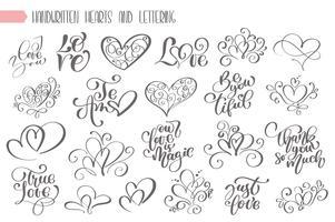 Grande conjunto de escritos à mão lettering sobre amor