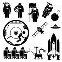 Astronauta Exploração Espacial Stick Figure Pictogram Icons. vetor