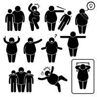 Homem gordo ação coloca posturas Stick Figure pictograma ícones. vetor