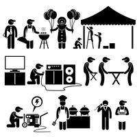 Festa de celebração festival evento serviços Stick Figure pictograma ícones. Pictograma humano que representa o negócio dos serviços da instalação do evento.