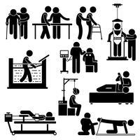 Physio fisioterapia e reabilitação tratamento Stick Figure pictograma ícones. vetor