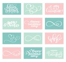 Lettering Set Love Vector Modelos de cartões de dia dos namorados