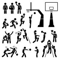 A ação do jogador de basquetebol levanta ícones da vara da figura do pictograma. vetor