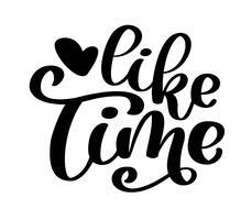 Mão desenhada lettering como tempo para web, mídia social, banner vetor