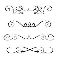 Set hand drawn flourish Elementos de caligrafia