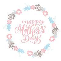 Grinalda de texto feliz dia das mães com flores, tag, ícone vetor