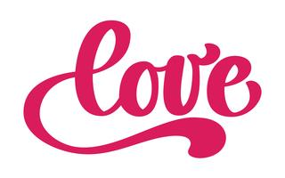 Ame o design de cartão com texto vermelho à moda para a celebração feliz do dia de Valentim. citação de letras. Texto vintage de vetor, rotulação frase. Isolado no fundo branco