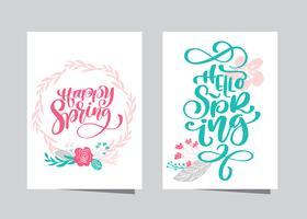 Mão desenhada rotulação primavera feliz e Olá primavera