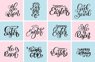 Definir citação feliz Páscoa, ele é ressuscitado frase de vetor de desenhos tipográficos. Modelos de design de texto caligráfico cristão mão desenhada