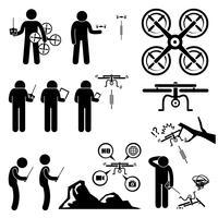 Homem controlando voando Drone Quadcopter Stick figura pictograma ícones.
