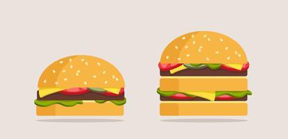 Conjunto de hambúrgueres. Estilo dos desenhos animados. Ilustração vetorial