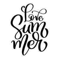 Mão desenhada amor verão letras vetor logotipo illusrtation