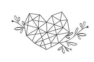Quadro floral gráfico do coração do amor da geometria. Vector as folhas e as flores na vinheta bonito isolada no fundo preto. Casamento, decorações de São Valentim Daystyle