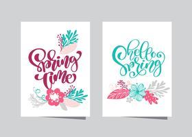 Mão desenhada lettering tempo de primavera