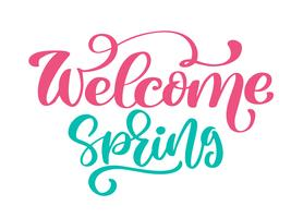 welcome spring hand drawn quote text vetor