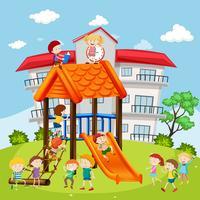 Alunos brincando no playground na escola vetor