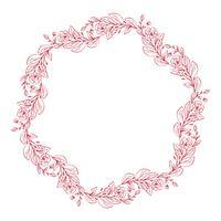 Grinalda decorativa de flores de lavanda isolada no fundo branco, desenho de mão redonda frame doodle desenhada vector esboço linha arte herbal design gráfico para cartão, convite, projeto de casamento, cosmético