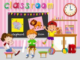 Crianças, tendo divertimento, em, sala aula vetor