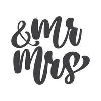 palavras de casamento Mr. and Mrs vetor