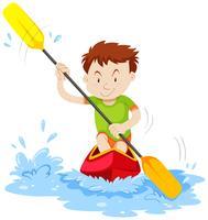 Homem, kayaking, ligado, a, rio vetor