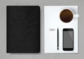 abstrato base de negócios de caderno, smartphone, lápis e xícara de café na folha de papel branco com fundo cinza de textura de concreto. vetor. vetor