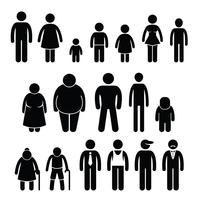 Pessoas personagem homem mulher crianças idade tamanho Stick Figure pictograma ícones. vetor