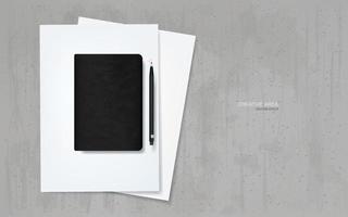 caderno e lápis na folha de papel branco com fundo de textura de concreto grunge. vetor. vetor