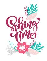 Tempo de primavera mão desenhada texto e design para cartão vetor