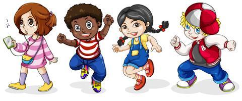 Crianças negras e caucasianas vetor