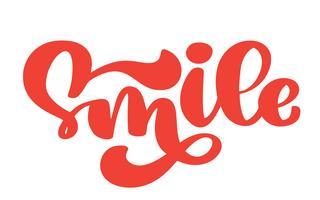 Sorriso mão rotulação cartaz de tipografia de texto
