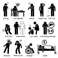 Pictograma de sintomas de efeitos colaterais de drogas de medicação.