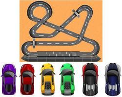 vista superior e pista de corrida brilhantes realistas de carros de corrida. ilustração vetorial fundo vetor
