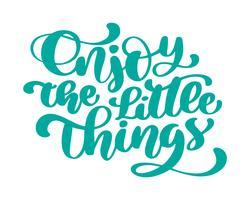 Aproveite as pequenas coisas Mão desenhada texto vetor