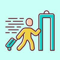 ícone de cor amarela de entrada expressa. passageiro passando por verificação de raio-x no aeroporto. verificação de segurança. máquina de varredura corporal. inspecção aduaneira. facilidade de caminho expresso. ilustração vetorial isolada vetor