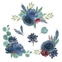 Aquarelle luxuosa pintado à mão dos ramalhetes do llustration das flores da aquarela dos ramalhetes da aquarela isolado no fundo branco. Design de decoração para cartão, salvar a data, cartões de convite de casamento, cartaz, banner