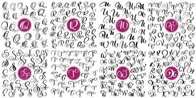 Conjunto de letra Q, R, S, T, U, V, W, X Caligrafia de floreio de vetor de mão desenhada. Fonte de script. Letras isoladas escritas com tinta. Estilo de pincel manuscrito. Letras de mão para cartaz de design de embalagem de logotipos