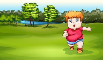 Um menino correndo perto do rio vetor