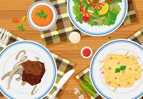 Vista aérea, de, refeições vetor