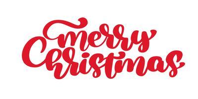 Texto caligráfico da rotulação do vetor vermelho do Feliz Natal para cartões do projeto. Presente de saudação de feriado Poster, overlay de fotografia, caligrafia moderna fonte