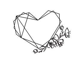 Quadro de coração gráfico floral geometria