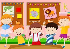 Cinco alunos aprendendo na sala de aula vetor