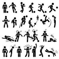 Ações do jogador de futebol do jogador de futebol do futebol levanta a figura ícones da vara do pictograma. vetor