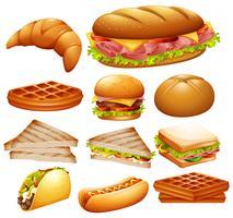 Conjunto de vários alimentos vetor