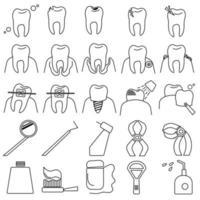 odontologia esboço conjunto de ícones, imagem simbólica dos dentes, suas doenças e procedimentos para o tratamento e cuidado dos dentes e da cavidade oral vetor
