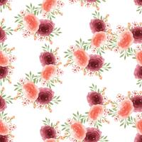 Modele a matéria têxtil luxúria floral sem emenda do vintage do estilo da aquarela, aquarelle das flores isolado no fundo branco. Design de flores decoração para cartão, salvar a data, cartões de convite de casamento, cartaz, banner.