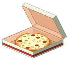Bandeja de pizza em caixa de papel vetor